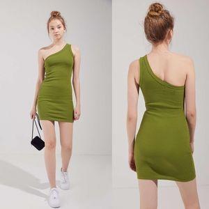 Urban Outfitters Jordan Ribbed One Shoulder Dress